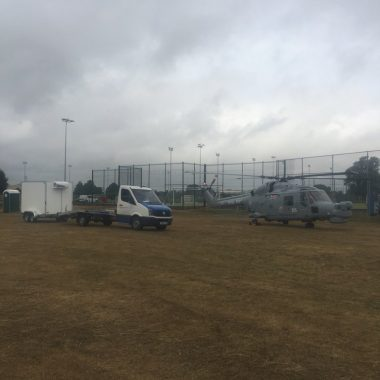 Refrigerated trailer & helicopter